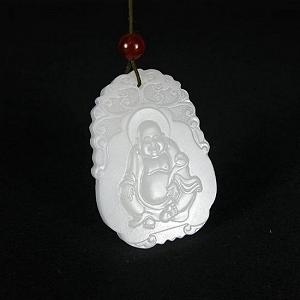 Special Grade Fine White Jade Buddha Card Nephrite Hanging Buddha Delicate Jade Quality