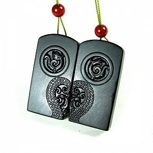 Orthodox School Nephrite Seed Jade Black Jasper Hanging Dragon Phoenix Card Super Thin Special Grade Material