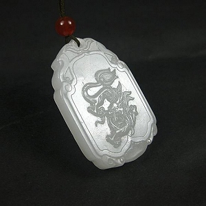 Special Grade Nephrite Fine White Jade Dragon Card Nephrite Hanging Dragon