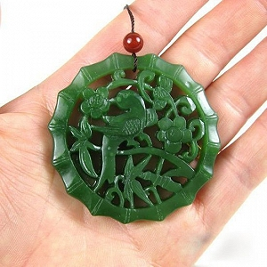 Special Grade Nephrite Spinach Green Jasper Hanging Pleased Top Tip Of Brow Card Handicraft Empty Carvings