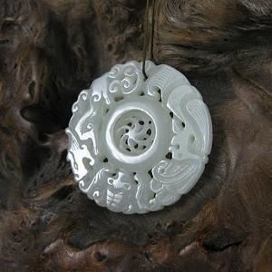 Nephrite Dragon Phoenix Lucky Omen Card Nephrite White Jade Luck Revolving While Hanging Piece