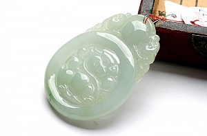 Wonderful Light Blue Color Jade Melon Pendant