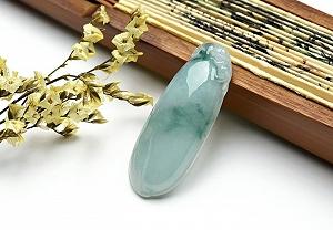 Wonderful Light Blue Color Jade Guanyin Pendant