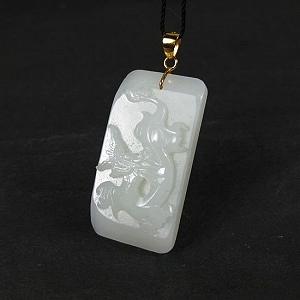 Nephrite Dragon Pendant Nephrite Gold Inset Jade Dargon Card Pendant