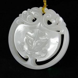 Special Grade Nephrite Dragon Card Pendant Orthodox Fine White Jade Dragon Pendant