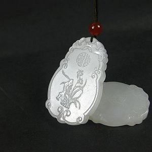 Special Grade Nephrite Fine White Jade Magnolia Card Nephrite Hanging Piece