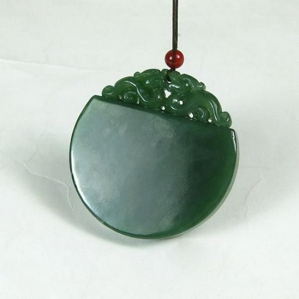 0fb55d4e4df40 Nephrite Spinach Green Jasper Hanging Peace Card In The Style Of ...