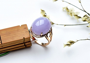 Charming Light Purple Color Jade Ring
