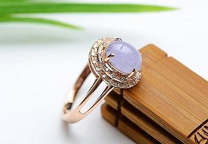 Charming Light Purple Color Jade Ring