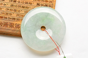 Wonderful Light Blue Color Jade Safe Button Pendant