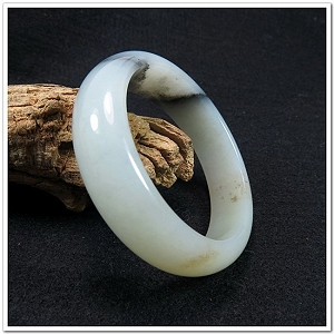Special Gray White Color Hetian Jade Bangle