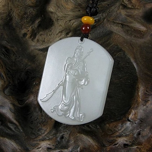 Nephrite Mr. Guan   Oil Smooth Nephrite White The Jade Pendant   God Of Wealth