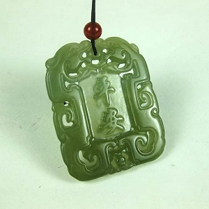 Nephrite Hanging Bluish Green Jade Brave Troops Hanging Peace Card Also Waist Piece
