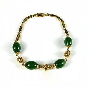 Best Nephrite Spinach Green Jasper Bracelet Nephrite Jasper Drum Bead Gold Inset Jade Bracelet