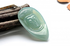 Wonderful Oil Blue Color Jade Guanyin Pendant