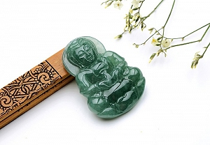 Wonderful Oil Blue Color Jade Guanyin Pendant