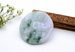 Rare Noble Ice Type Scattered Flower Jade Guanyin Pendant