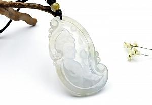 Rare Noble Ice Type Jade Guanyin Pendant