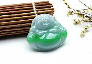 Wonderful Positive Green Color Jade Buddha Pendant