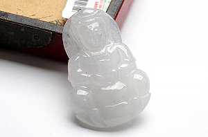 Wonderful Ice White Color Jade Guanyin Pendant