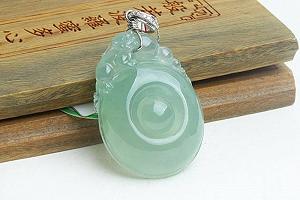 Rare Noble Ice Type Light Blue Color Jade Ruyi Pendant