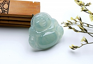 Wonderful Oil Blue Color Jade Buddha Pendant