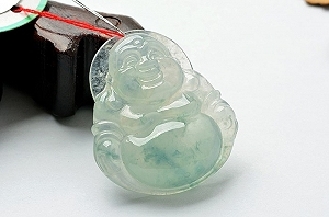 Rare Noble Ice Type Scattered Flower Jade Buddha Pendant