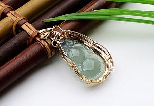 Rare Noble Ice Type Jade Gourd Pendant