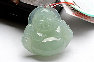 Rare Noble Ice Type Light Blue Color Jade Buddha Pendant