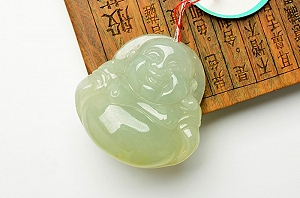 Wonderful Light Blue Yellow Color Jade Buddha Pendant