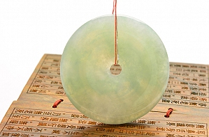 Wonderful Light Blue Color Jade Safe Button Pendant