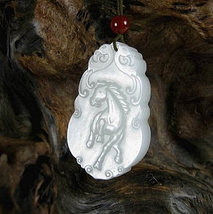 Nephrite Hanging Special Grade Horse Chinese Zodiac Sign Fine White Jade Horse Delicate Quality