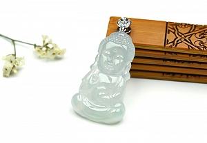 Rare Noble Glass Type Jade Buddha Pendant