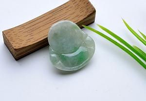 Wonderful Scattered Green Flower Jade Buddha Pendant