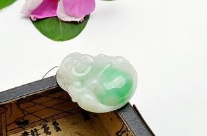 Wonderful Scattered Green Color Jade Buddha Pendant