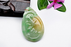 Wonderful Light Blue With Yellow Color Jade Ruyi Pendant