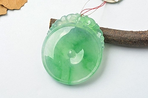 Rare Noble Ice Type Scattered Green Color Jade Pendant