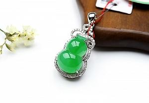 Wonderful Positive Green Color Jade Gourd Pendant